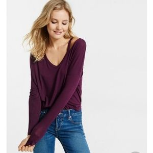 EXPRESS Purple Cut-Out Long Sleeve Top